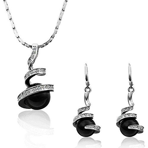 Moda-Conjunto de Collar y Pendientes Mujer Espiral Chapado en Oro Cristal Perla Negro