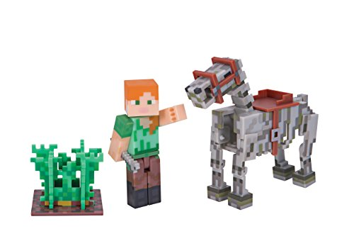 minecraft-16601-alex-mit-skelettpferd-actionfiguren