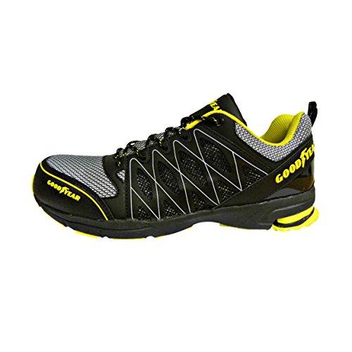Goodyear GYSHU1502A BL/YE 5/38S1P SRA Hro calzature di sicurezza, colore: Nero/Giallo