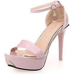 Sandalen Damen mit Absatz, FNKDOR Peep-Toe Knöchelriemen Berufsschuhe (36, Pink)