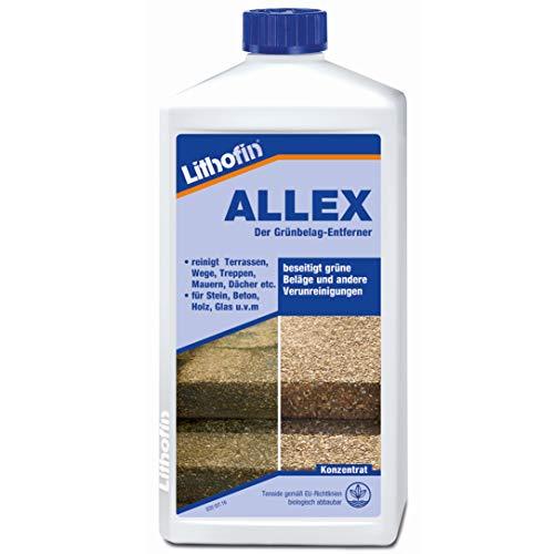 Lithofin Allex Grünbelag-Entferner Algen- und Moosentferner 1 Liter - Ideal zum vorbeugen gegen grüne & rutschige Beläge