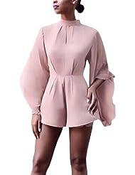 Auxo Mono Ropa Flores Chic Blusas de Mujer Elegantes Túnica con Mangas Pantalones Cortos Rosa