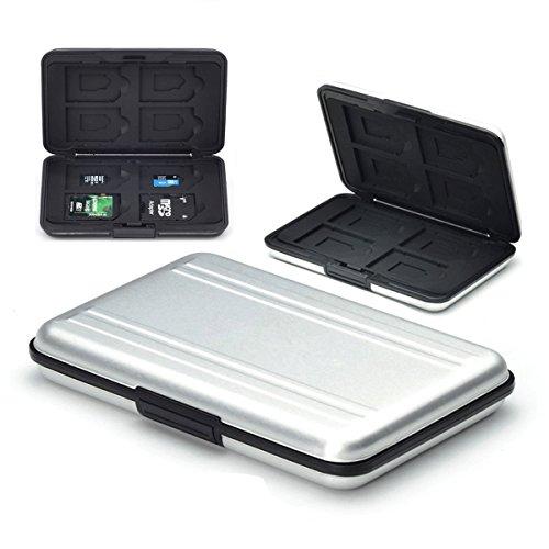 flycoo Schutzhüllen für Speicherkarten Schutz stoßfest staubdicht wasserdicht antimagnetisch Box für 8SD Karten 8TF/Micro SD Karten silber silber