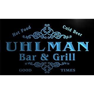 u46019-b UHLMAN Family Name Bar & Grill Home Decor Neon Light Sign