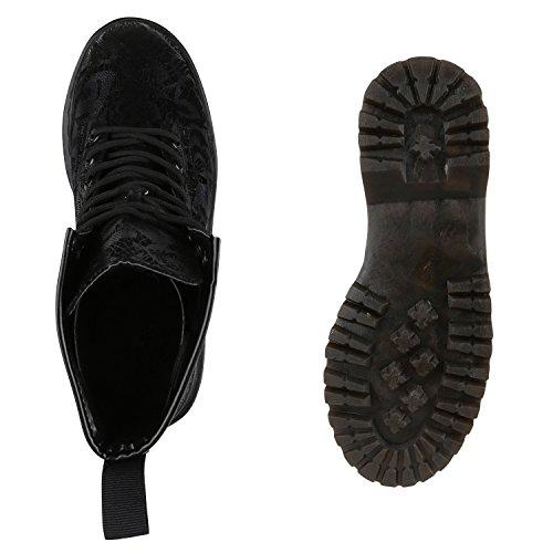 Stiefelparadies Damen Plateau Stiefeletten Kurzschaft-Stiefel Leder-Optik Schuhe Karneval Fasching Kostüm 90er Punk Rocker Military Boots Flandell Schwarz Berkley