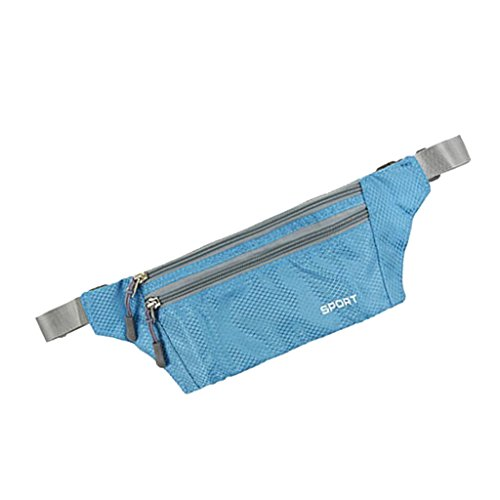 Imported Fanny Waist Belt Bag Sport Hip Travel Camping Hiking Zip Pocket Men Sky Blue  available at amazon for Rs.355