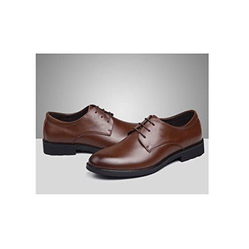 LYZGF Uomini Signori Four Seasons Business Casual Fashion Pointed Allacciate Scarpe In Pelle Sposate Brown