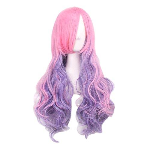 Ben-gi Lange lockiges Frauen-Mädchen-Perücke Rosa Lila gefälschten synthetischen Haar-Partei Cosplay Perücken Haarteil zu beleuchten