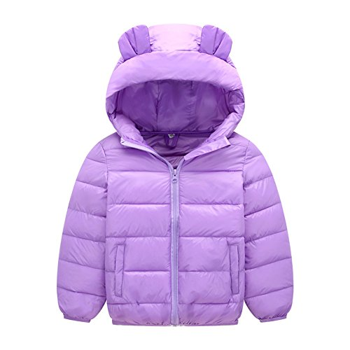 Hzjundasi Bambino Ragazze Ragazzo Tute da Neve Felpa con Cappuccio Orecchie Carine Piumino Inverno Addensare Cappotto per 1-8 Anni 130cm