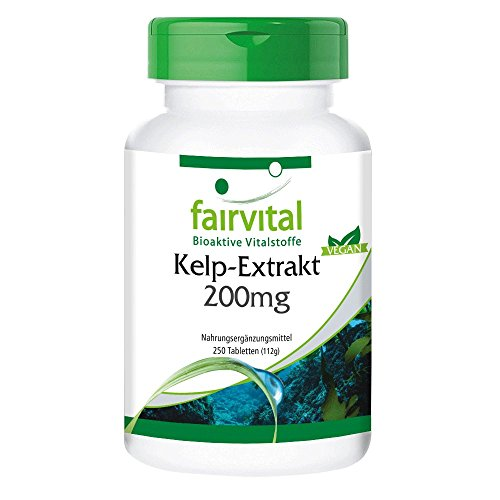 Kelp Tabletten - 300mcg natürliches Jod aus Braunalgen Extrakt 200mg - HOCHDOSIERT - 250 Tabletten - Vegan