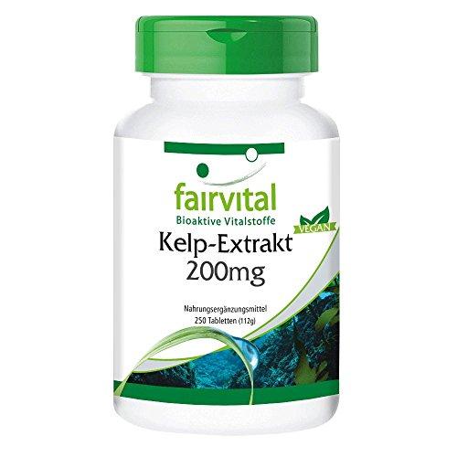 Kelp-Extrakt 200mg mit 300mcg Jod, VEGAN - 250 Tabletten - natürliches Jod -