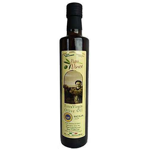 100% Sicilian IGP Extra Virgin Olive Oil - Cold Pressed - Unfiltered and No Refine - Crafted exlusive from IGP Olives Handpicked at Our Family's Firm in Sicily - Rich in Antioxidants 500 ml