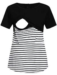 STRIR Camisetas Mujer Manga Larga Lactancia Maternidad Enfermeria  Camisas 44c38182f29