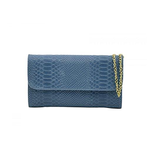 Pochette Pour Femme En Cuir Véritable Imprimée Façon Python Couleur Bleu Clair - Maroquinerie Fait En Italie - Sac Femme