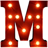 12inch 3 Colors LED Letter Light Vintage Circus Style Alphabet Light Up Sign A-Z - Red, M