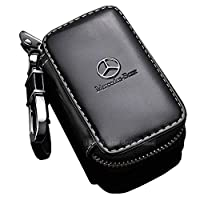 fit Mercedes-Benz Key Case,Car Tag Black Leather Material Remote Keychain (black Mercedes-Benz)