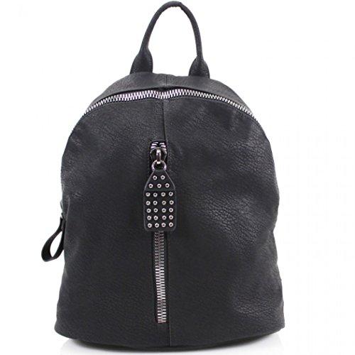 LeahWard Mädchen Qualität Faux Leder Rucksack Taschen Frauen Nizza Rucksack Tasche Handtaschen für Schulferien Rucksack für Jungen CW9050 (M9050 Grün Rucksacktasche) M9050 Schwarz Rucksacktasche