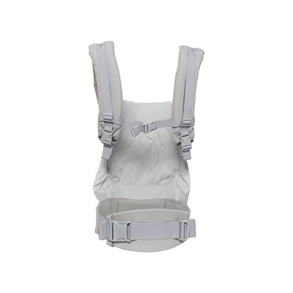 "Ergobaby Front and Back Original Baby Carrier, Pearl Grey Ergobaby Ergonomic baby carrier - ergonomic for baby with wide deep seat for a spread-squat, natural ""m"" seated position. Baby carrying system with 3 carry positions:  front-inward, hip and back. from baby to toddler: 5.5*-20 kg Maximum wearing comfort - lumbar support waist belt (adjustable from 66-140 cm / 26-52 in) that can be adjusted to the height of the carry position. 3"