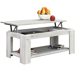 COMIFORT Table Basse relevable avec Porte-revues Intégré, 100X 50X 43/55cm,