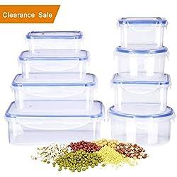Deik Boîte alimentaire, Set de boîte de conservation alimentaire, Conteneur alimentaire plastique avec couvercles hermétiques lot de 16, Compatible avec lave-vaisselle, Congélateur.