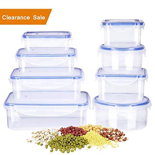 Deik set di contenitori per alimenti senza bpa, impilabile 8 pezzi, certificato lfgb, adatto per lavastoviglie, congelatore, microonde