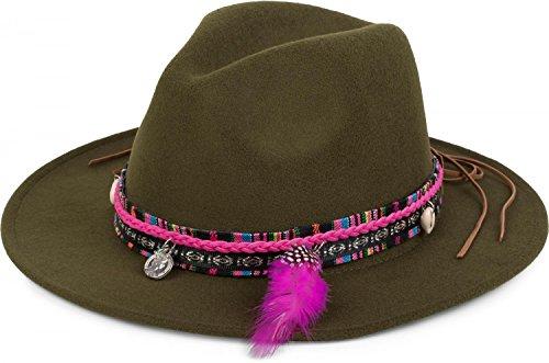 Filzhut mit Webborte, Feder Muschel Münze und Stein Anhänger im Boho Style, Cowboy Hut, Unisex 04025014, Farbe:Oliv (Grüne Cowboy-hut)