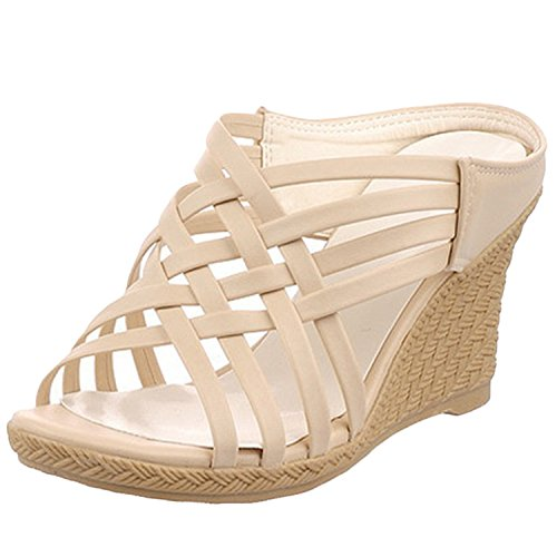 Oasap Women's Open Toe Wedge Heels Gladiator Slip-on Sandals Beige
