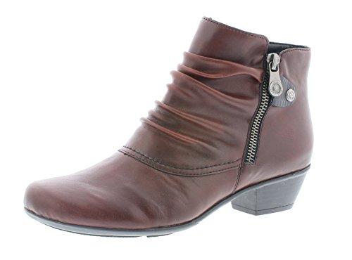 Rieker Damen Ankle Boots Y7363,Frauen Stiefel,Ankle Boot,Halbstiefel,Damenstiefelette,Bootie,knöchelhoch,Trichterabsatz 3.5cm,vino/Black, EU 37
