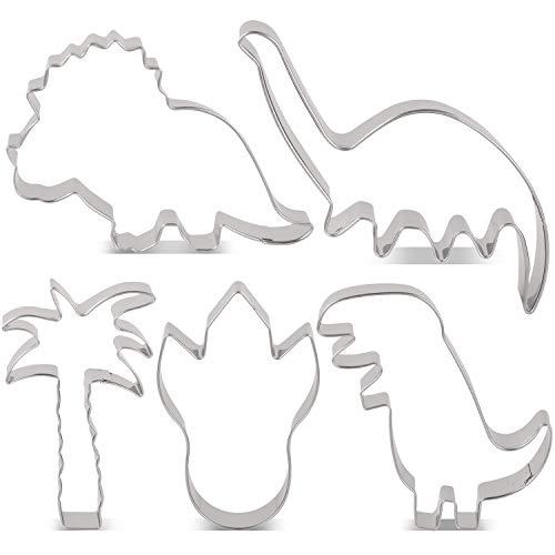 usstechformen Set Dinos Fondant Brot Ausstecher für Kinder - 5 Stück - T-Rex, Brontosaurus, Triceratops, Fuß des Dinosauriers und Palme Keksausstecher - Edelstahl ()