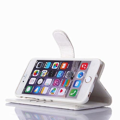 Coque iPhone 7,Coque iPhone 7 Plus, Coque iPhone 6/6S, Coque iPhone 6Plus/6S Plus, Coque iPhone Case cover, [Porte-cartes] étui Protection en Cuir Portefeuille multi-Usage Housse Rabattable(ARD-03) E