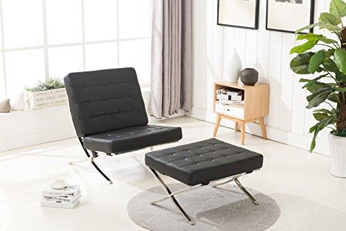 MCombo Loungesessel Relaxsessel Cocktailsessel Modern Lounge Stuhl PU Leder Edelstahl Sessel und...