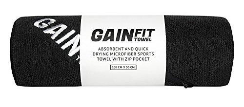 GAINFIT Microfaser Sporthandtuch mit integrierter Tasche - 100 cm x 50 cm - Schwarz - Saugstark und schnell trocknend für Gym/Fitnesstudio