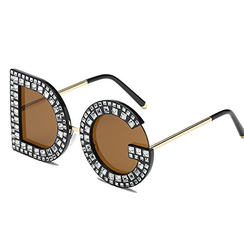 GAOJUAN Unisex Vintage Sonnenbrille Persönlichkeit Brief Sonnenbrille DG Diamant Sonnenbrille UV400 Schutz Brillen Geeignet Fahren Strand Mode Reisen,Brown