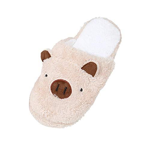 FOANA Schweinepantoffeln Frauenhausschuhe Süße Hausschuhe Winterpantoffeln Plüsch Hausschuhe (Kaffee, EU:36)