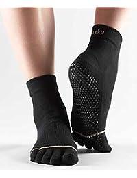 Homme et Femme 1Paire de chaussettes de yoga ToeSox Orteils séparés Chaussettes en coton biologique  M noir