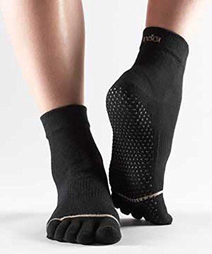 Hombre y Mujer 1par Toesox Yoga de dedos de tobillo Calcetines de algodón orgánico en clara Morado, color negro, tamaño small