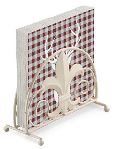 Cerf Silhouette Rouge Gris Vichy Noël en Relief 20 X 3 Plis Serviettes en Papier & Fleur de Lys Porte Serviette Set