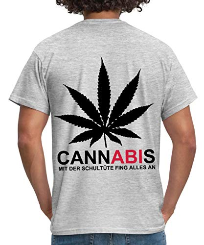 Cannabis - Mit der Schultüte fing Alles an! Männer T-Shirt, 3XL, Grau meliert