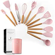 11PCS Silicone Cooking Kitchen Utensils Set with Holder, Silicone Utensil Set for Cooking with Wooden Handle B