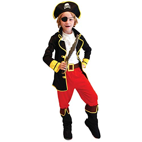 Fenical Piraten Cosplay Kostüm Set (Jacke Hose Weiß Weste Gürtel Augenmaske Hut) Outfit für Kinder Halloween Party Performance