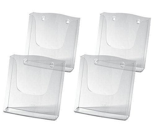 SIGEL LH115/4 Wand-Prospekthalter für DIN A4, aus Acryl, transparent, 4er Pack - weitere Größen -