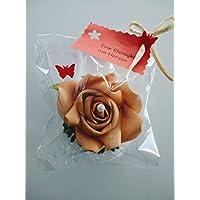 Deko - Geschenk EINE KLEINIGKEIT VON HERZEN Set mit einer Rosenblüte in apricot. Zu vielen Anlässen, wie Muttertag, Hochzeit, Gebutstag.