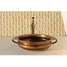 CAPSTONA Brass Calicanto Antique Bathroom Sink Designer Tabletop/Counter top Pure Brass Metal Washbasin, 460 x 400 mm