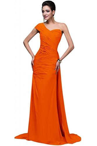 Sunvary Elegant Neu Ein-Traeger Chiffon Falte Lang 2015 Schlitz Abendkleid Partykleider Orange