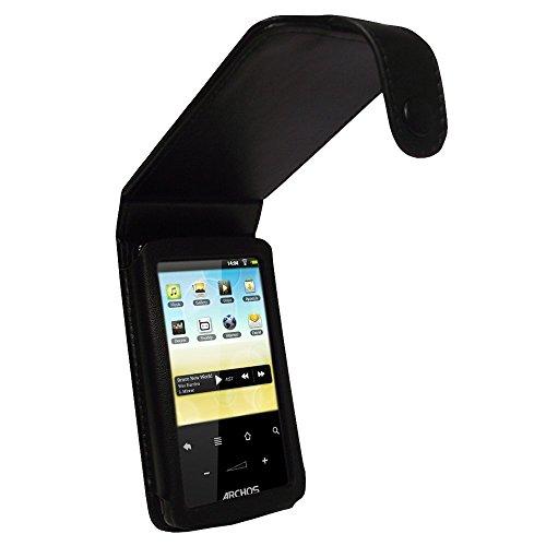 igadgitz Leder Tasche Etui Schutzhülle Case Hülle echtes Napa Leder in Schwarz für Archos 28 Android Internet Tablet