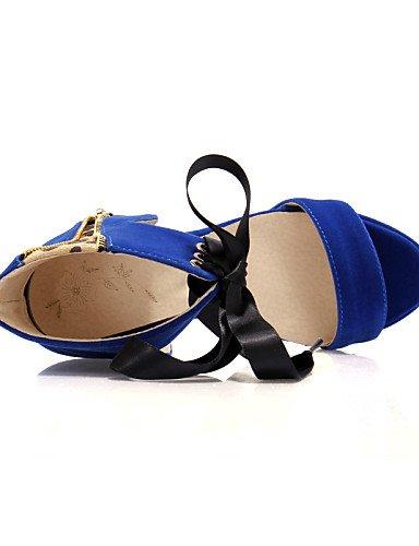UWSZZ IL Sandali eleganti comfort Scarpe Donna-Sandali / Scarpe col tacco-Formale / Casual / Serata e festa-Tacchi / Spuntate / Plateau-A stiletto-Finta pelle-Nero / Blu / Blue