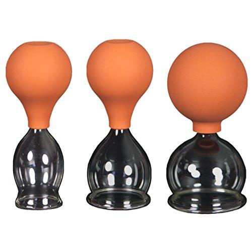 3er Schröpfglas-Set mit Ball 30-40-50mm zum professionellen, medizinischen, feuerlosen Schröpfen mundgeblasen, handgeformt, Schröpfglas, Schröpfgläser, Lauschaer Glas das Original