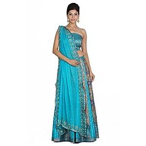 Geroo Women's Banarsi Silk Hand Woven Lahenga Choli Dupatta Set (L-135, Blue, Free Size)