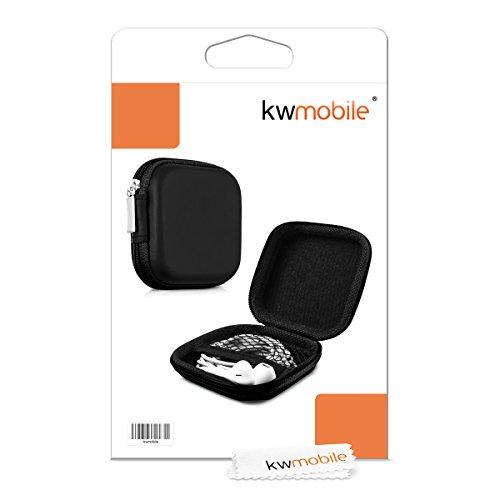 kwmobile In-Ear Kopfhörer Tasche - In Ear Headphones Schutztasche - Earphones Etui Case Cover Hülle für Kopfhörer in Schwarz - 4