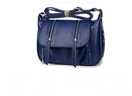 borse in pelle, la signora pacchetto diagonale del nuovo, borsa mamma di mezza età, borsa di pelle sky blue